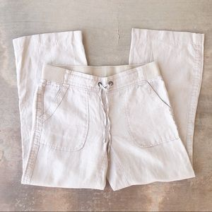 Athleta 100% Linen Drawstring Cropped Pants